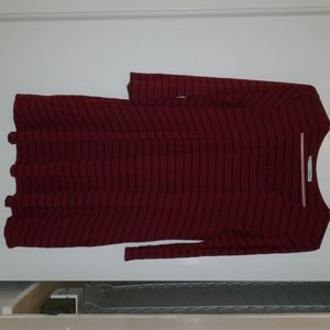 A maroon and blue striped dress